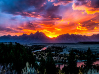Sunest over the Grand Tetons
