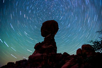 Star Trails Circling Balanced Rock in Arches National Park