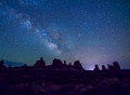 Images of the Milky Way and Arches National Park at Night