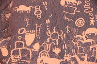 Images of Native American Petroglyphs at Newspaper Rock near Canyonlands National Park