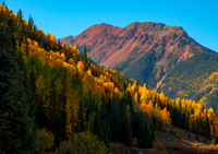 Red Mountain with Yellow Aspens in the Foreground